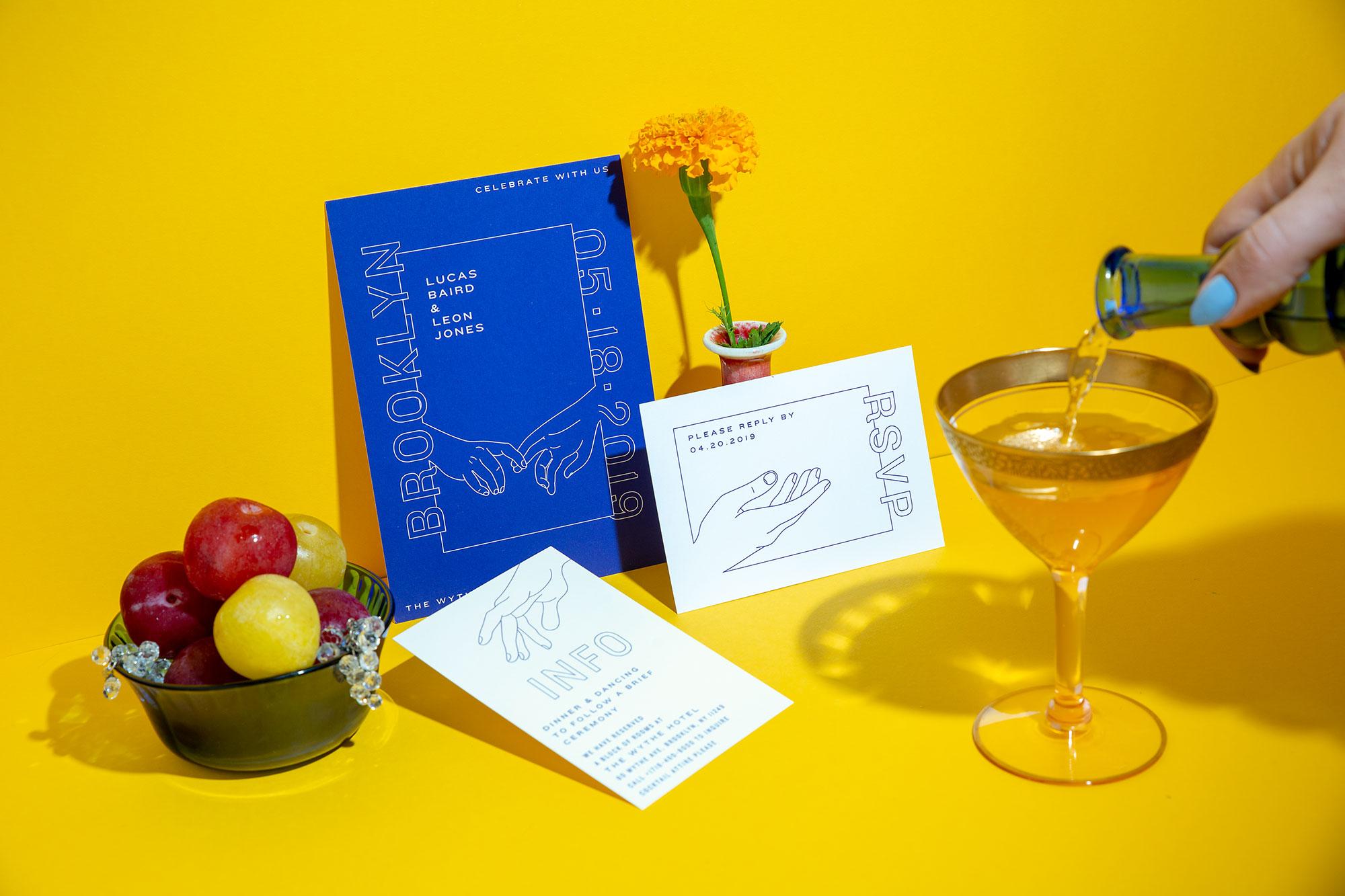 hands wedding invitation suite by eco-friendly paper goods design studio ephemora