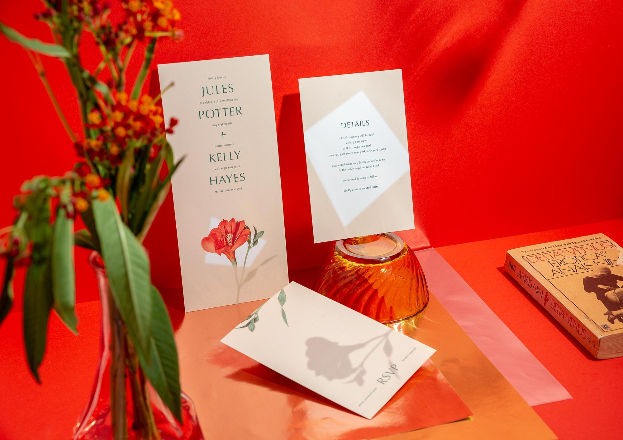 Flor gender-inclusive wedding invitation design by eco-friendly paper goods studio ephemora
