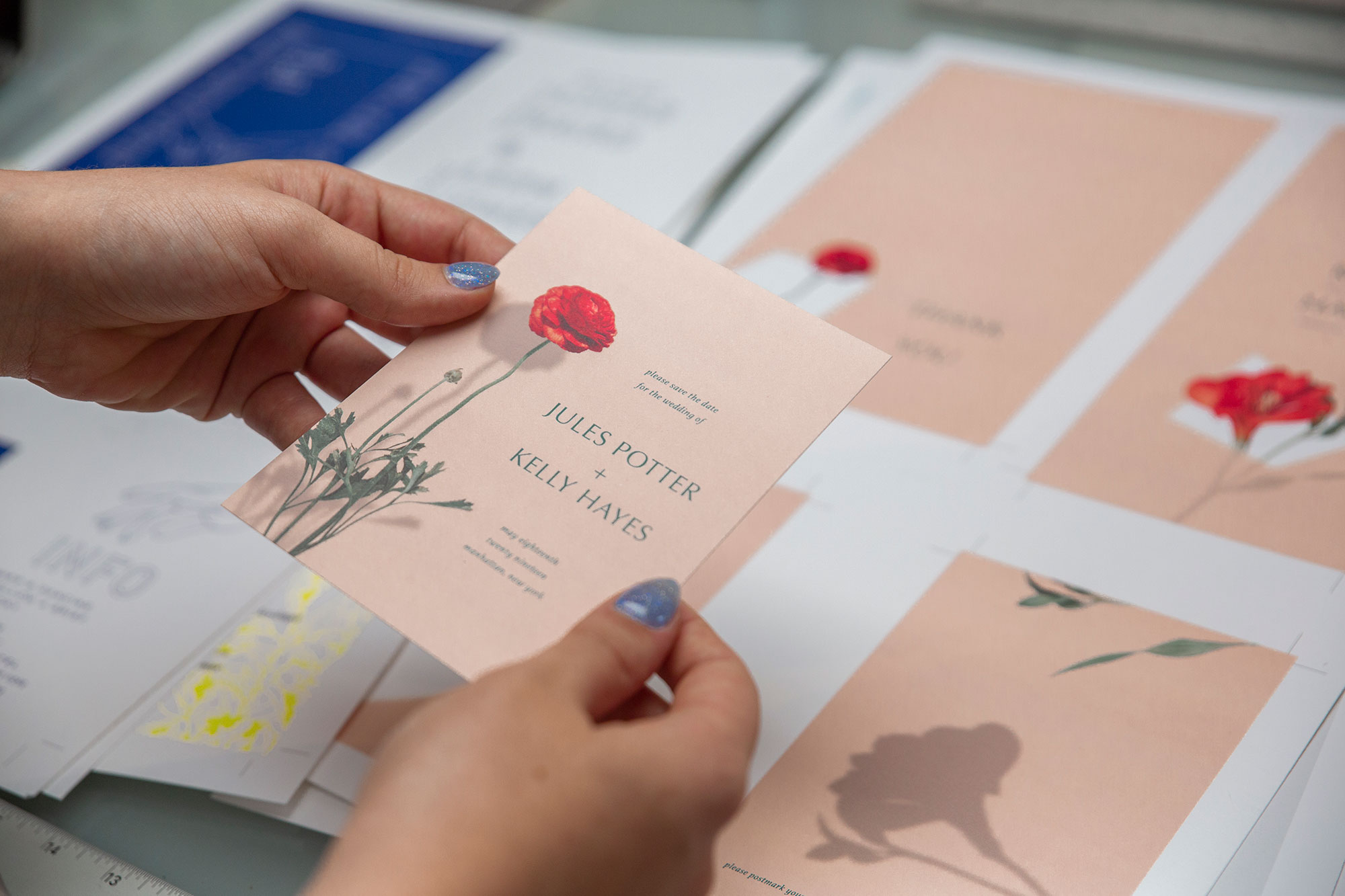 Natalie doing a press check on flor wedding invitation suite design for eco-friendly stationery studio ephemora