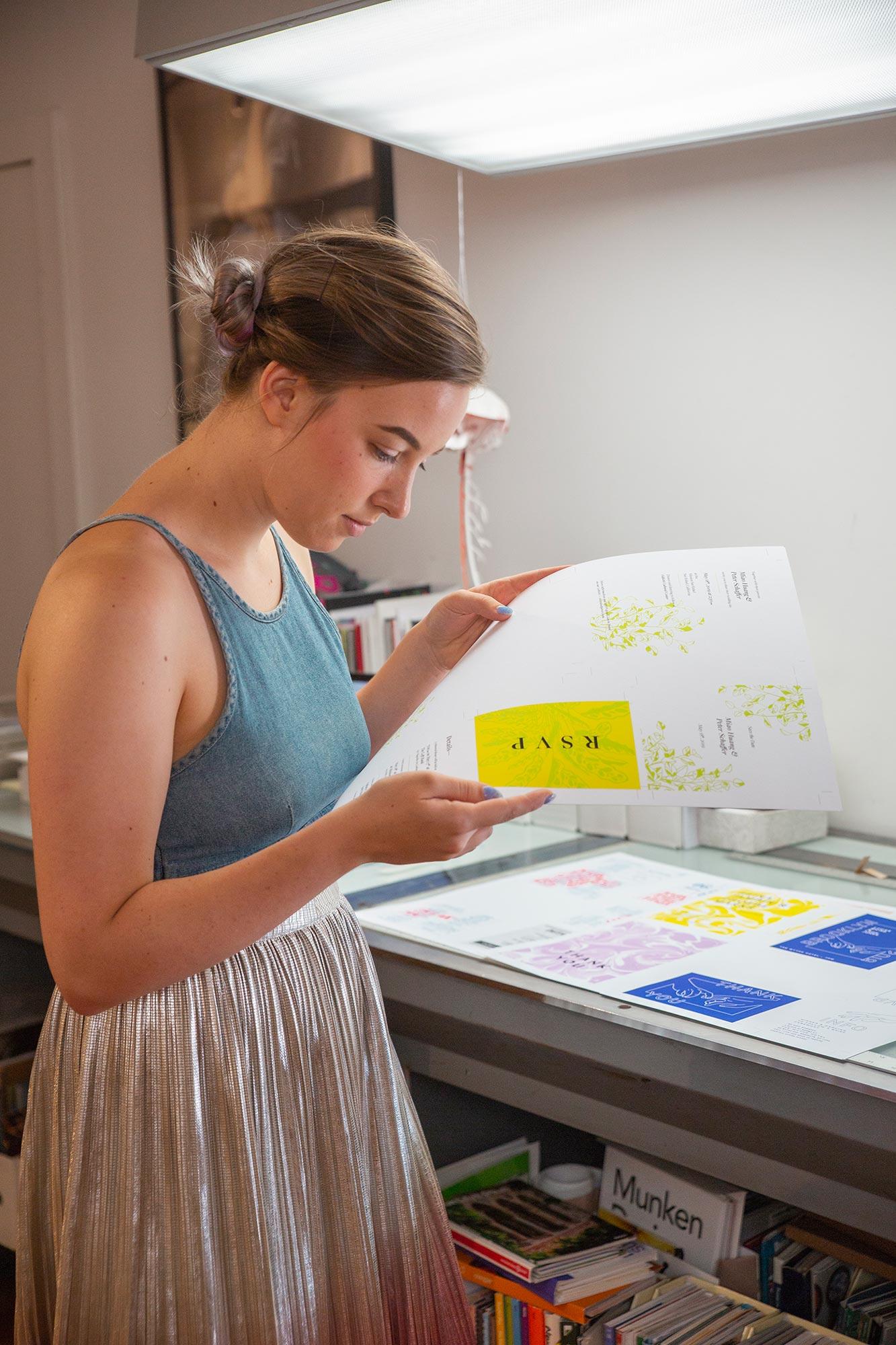 Natalie does press check on ficus wedding invitation suite design for gender-inclusive stationery studio ephemora