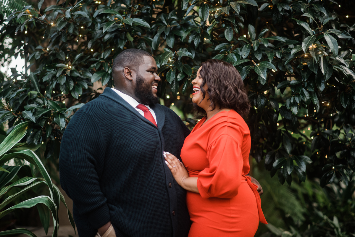 longwood gardens engagement kennett square pennsylvania sgw photography laughing in front of trees