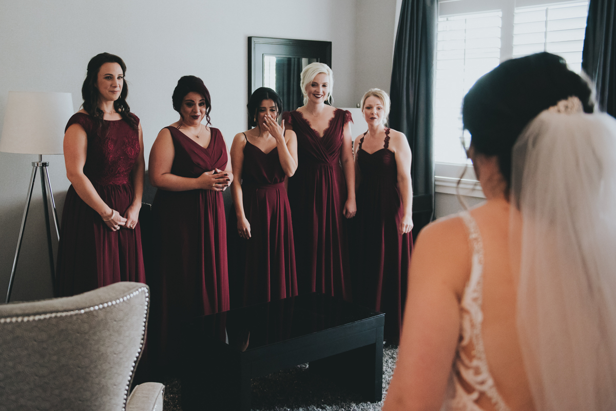 Persian-Canadian Wedding Innocent Thunder Photography Sooke Victoria Canada bridesmaids first look at golly in dress