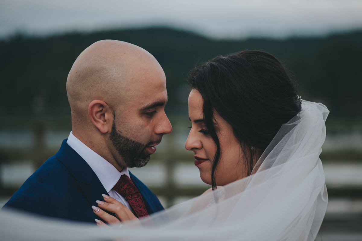 Persian-Canadian Wedding Innocent Thunder Photography Sooke Victoria Canada couple embraces with golly's veil around them