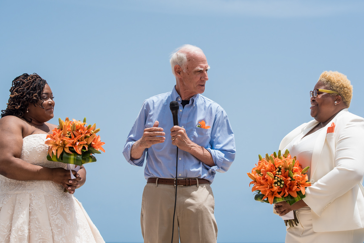 tropical LGBTQ beach wedding in san juan puerto rico