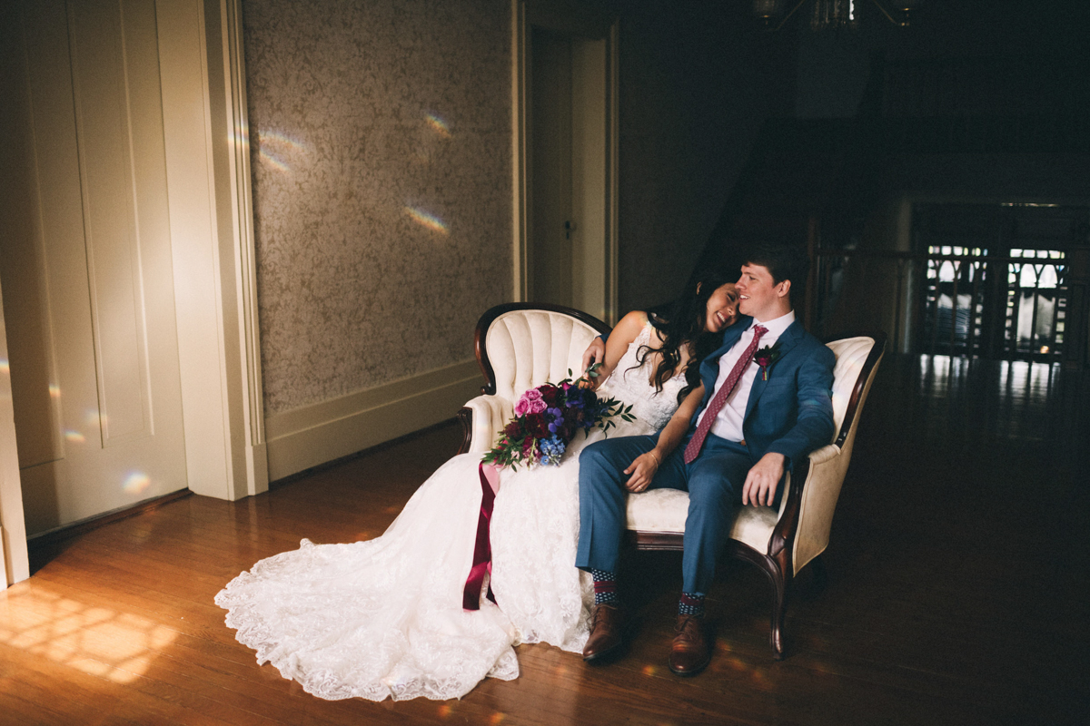 Warrenwood manor danville kentucky wedding sarah katherine davis couple on couch