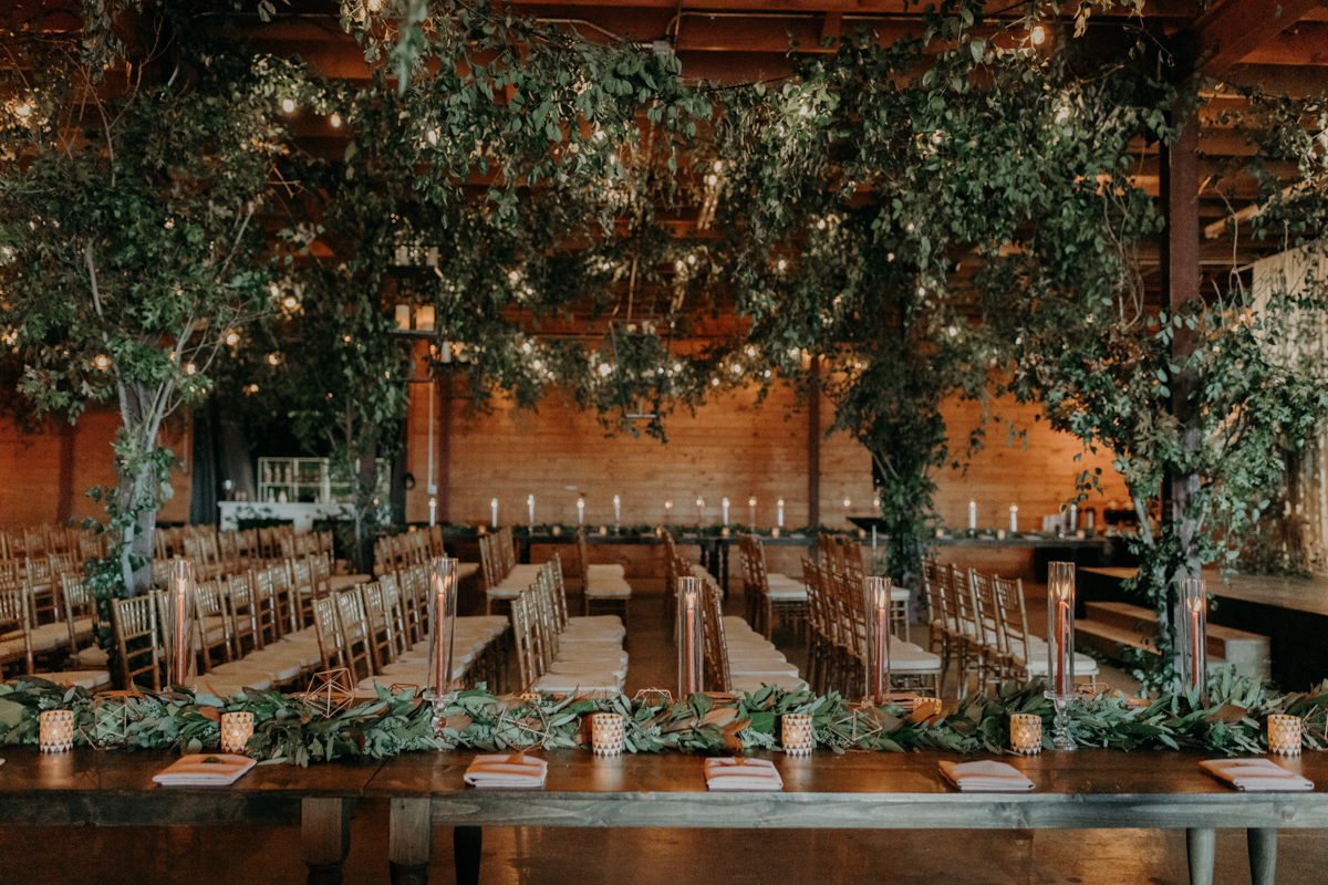 ABBY AND NICK WEDDING AMARILLO TX RITTER COLLECTIVE PHOTOGRAPHY GUESTS' CHAIRS WITH VINES IN RAFTERS