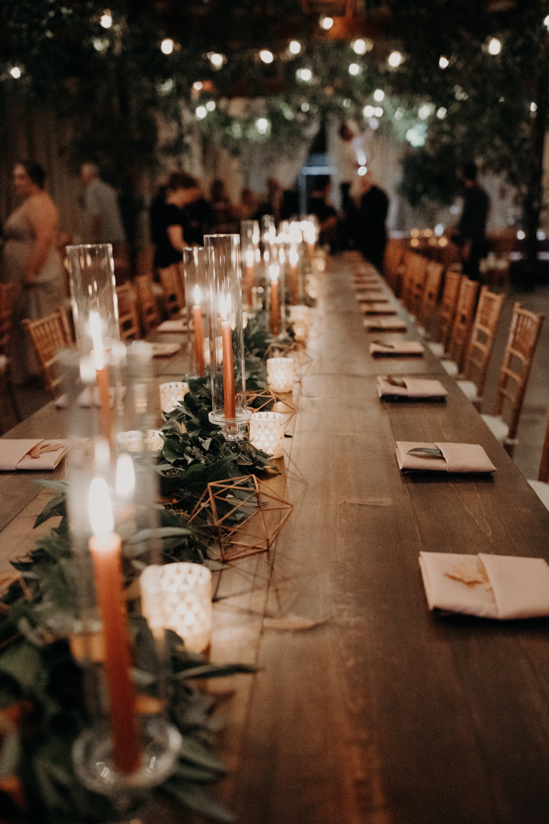 ABBY AND NICK WEDDING AMARILLO TX RITTER COLLECTIVE PHOTOGRAPHY LONG TABLE BEFORE GUESTS SIT