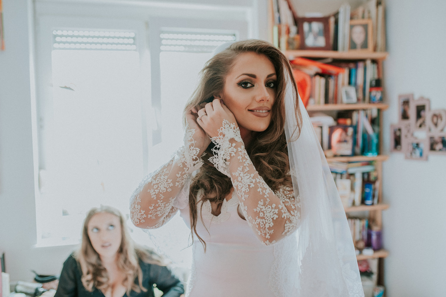 Sofia getting ready in DIY wedding dress serbia Aleska and Mina Photography
