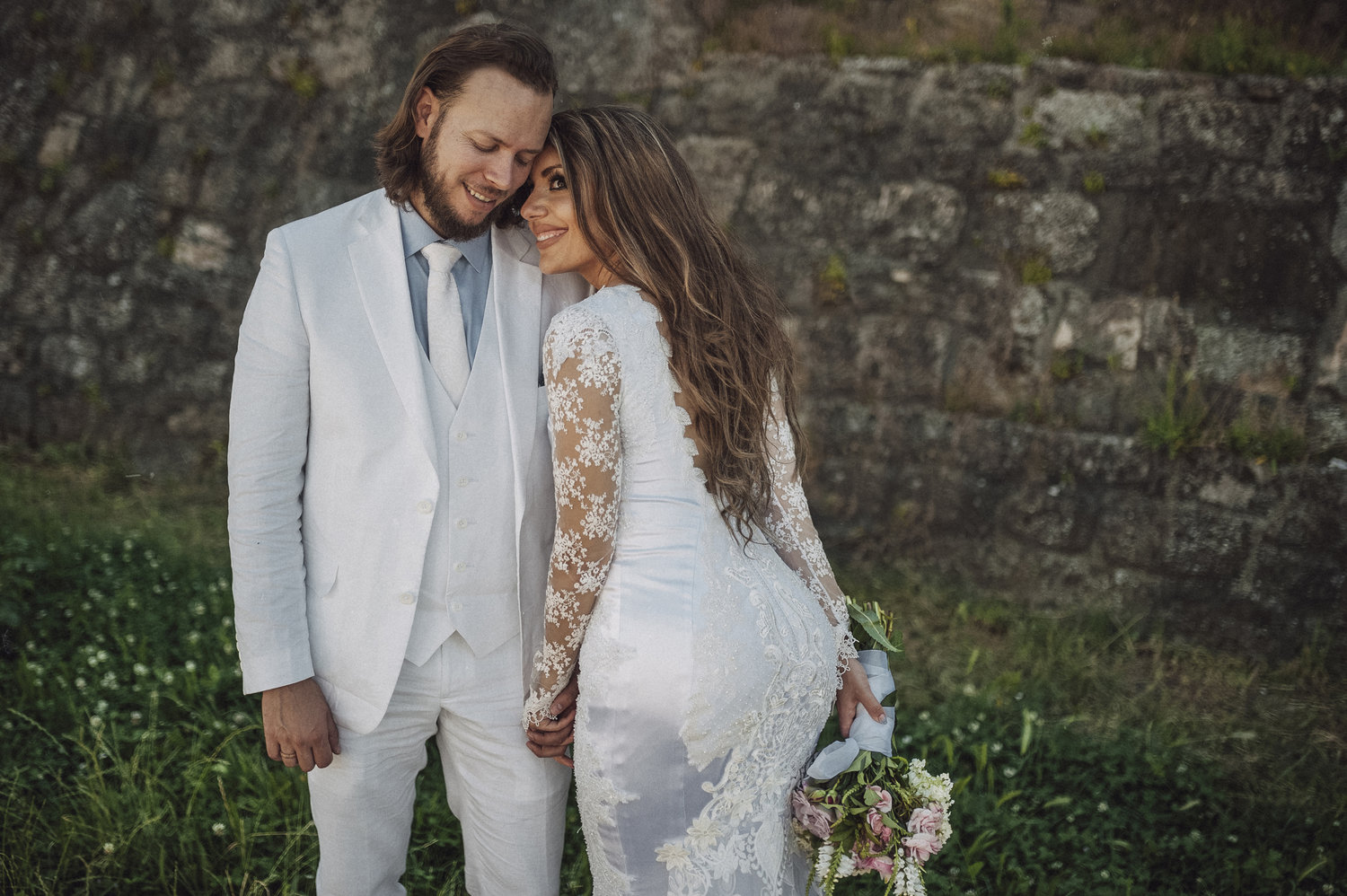bride and groom at serbian jazz wedding with DIY wedding dress Aleksa and Mina Photography