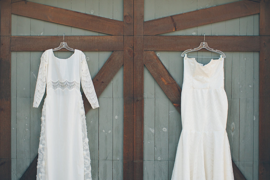 DIY wedding gowns for two brides at Colorado wedding Cassandra Zetta Photography