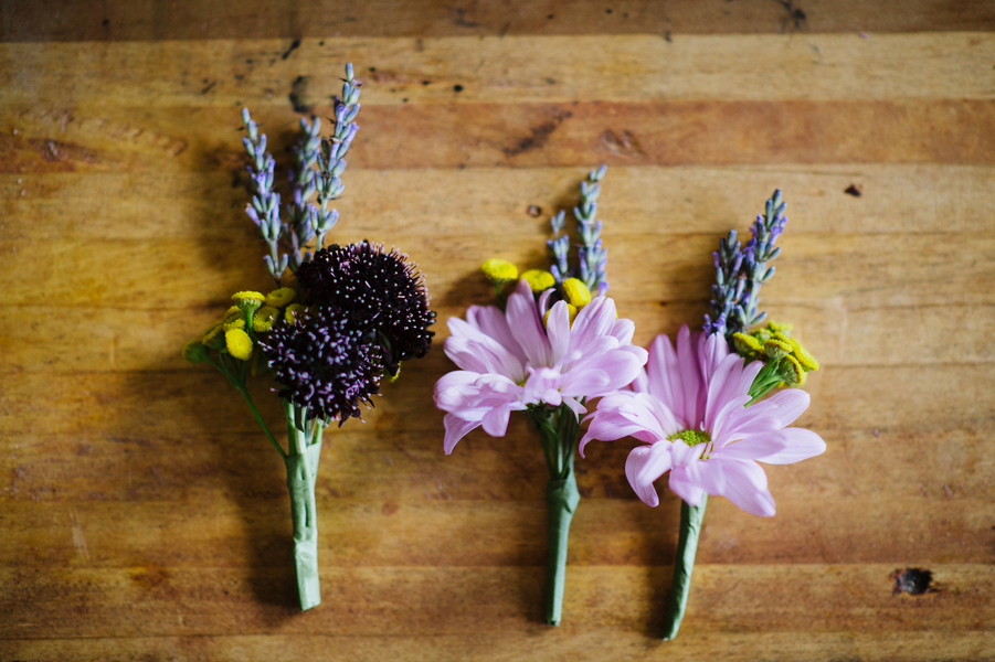 DIY floral boutonnieres for grooms and family at NYC intimate wedding Brian Hatton Photography