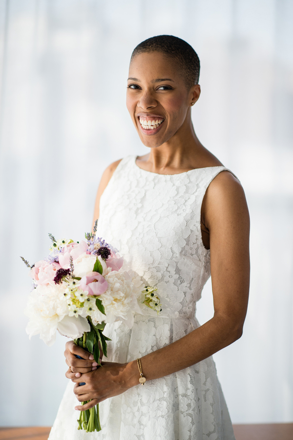 Monica's DIY wedding bouquet for intimate NYC wedding Brian Hatton photography
