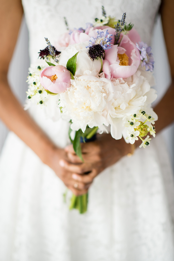 Monica holding DIY bouquet for intimate NYC wedding Brian Hatton Photography