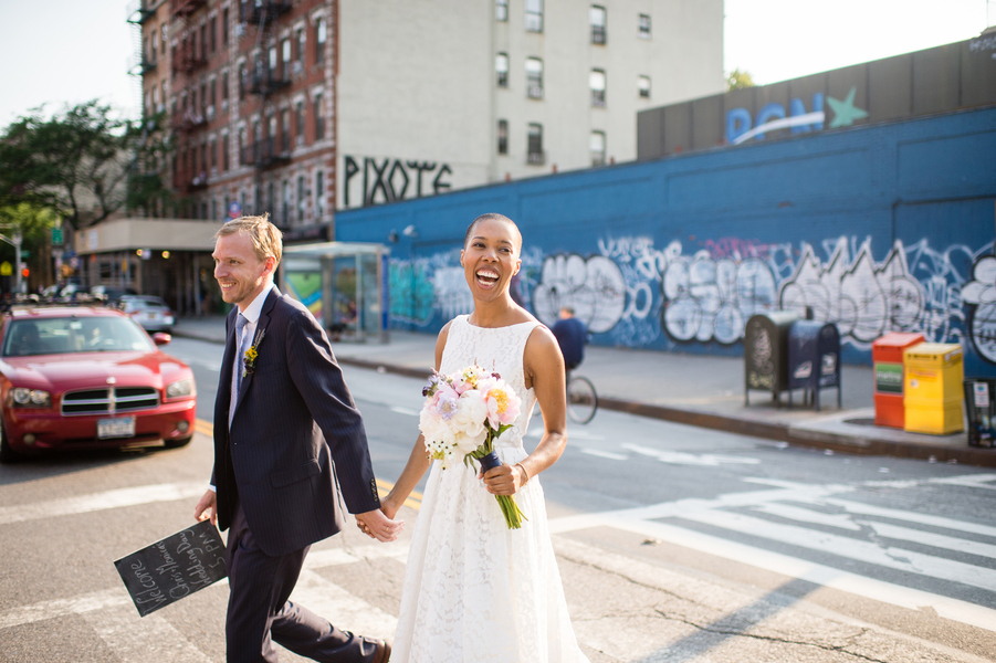 newlywed couple crosses street in NYC on way to DIY wedding ceremony Brian Hatton Photography