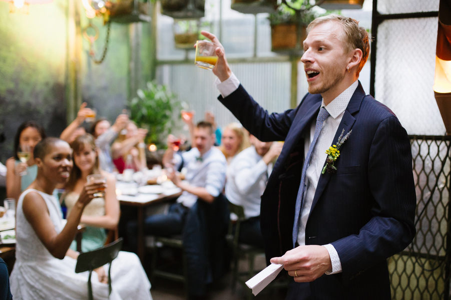 Chris making a toast at intimate DIY wedding at Edi & the Wolf in NYC Brian Hatton Photography