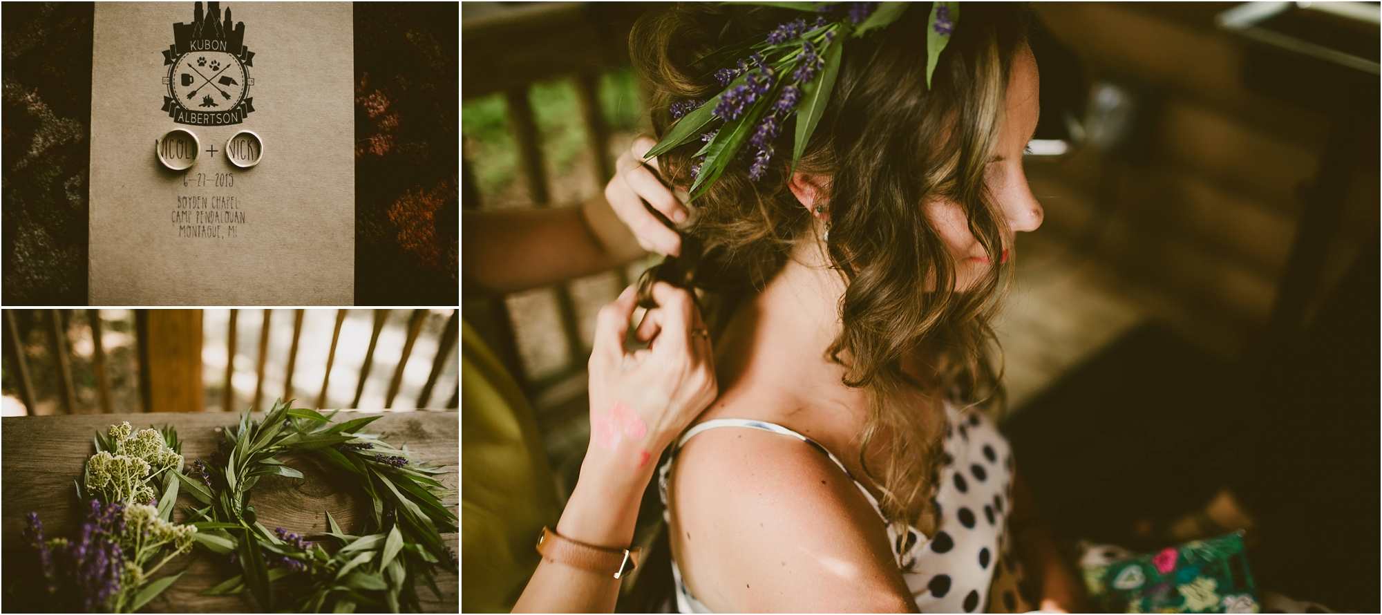 DIY hair, programs, and floral crown for this wedding in the woods Emily Dykema