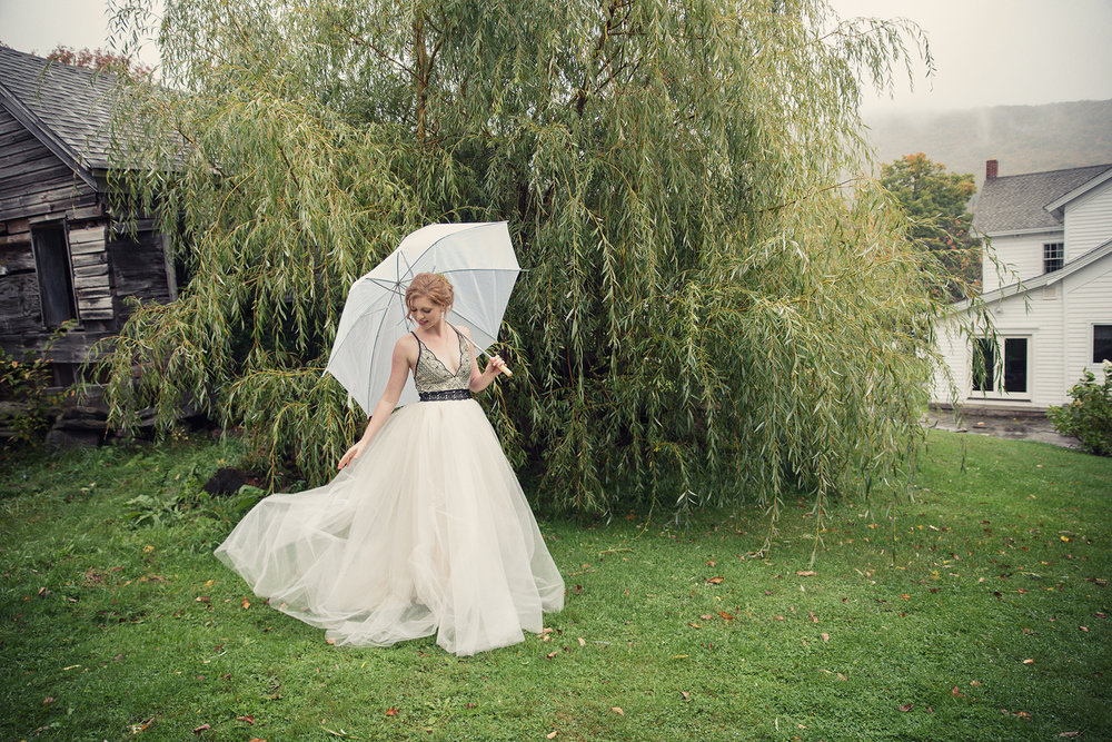 Aubrey's handmade wedding dress skirt at DIY catskills wedding Ella Sophie Photo