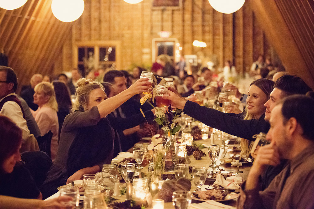 guests toast at reception at DIY catskills wedding Ella Sophia Photo