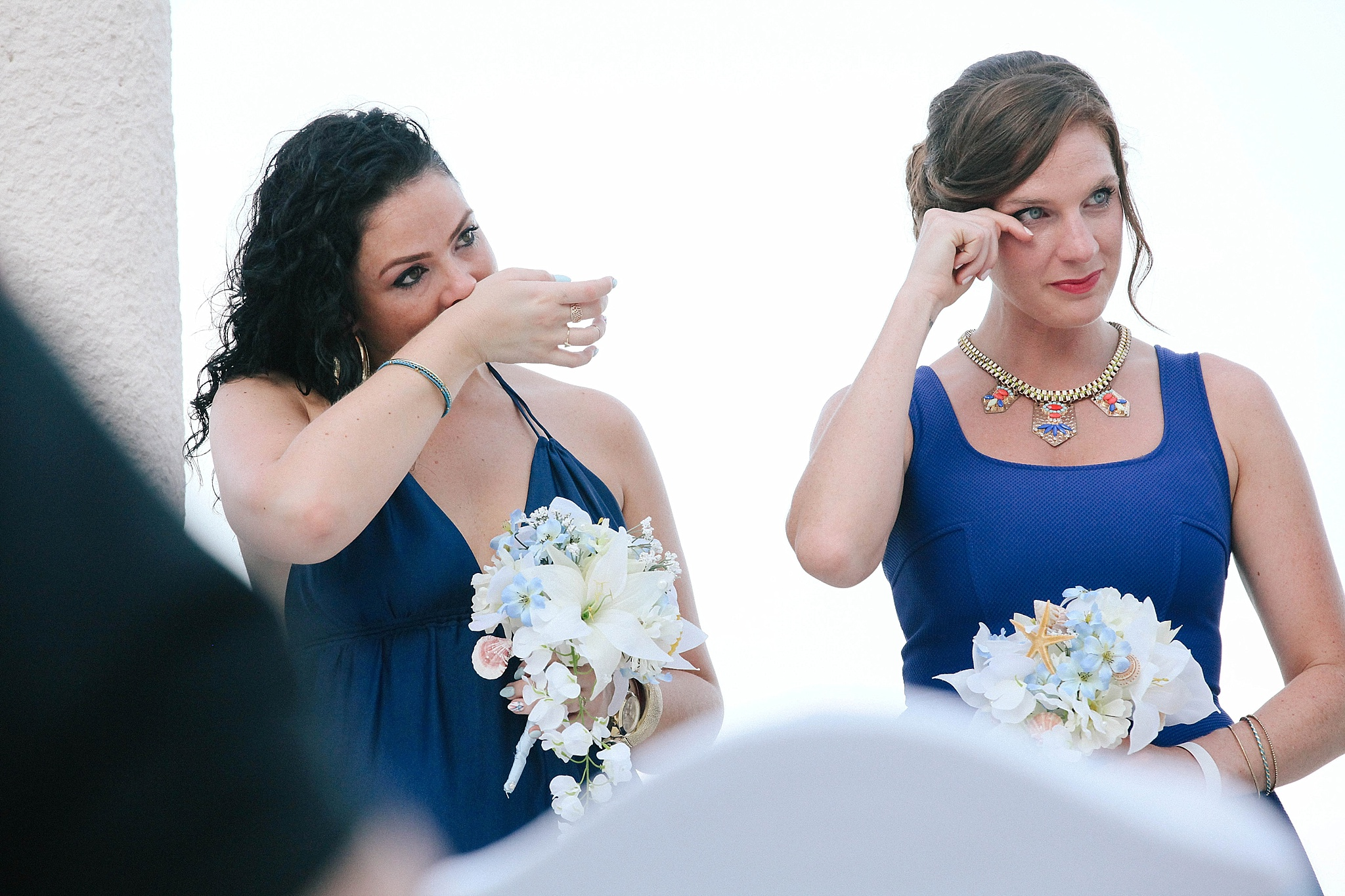 bridesmaids DIY bouquets with seashells at Mexican destination wedding Leah Moyers Photography