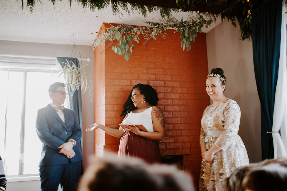 Jess and andi exchange vows at their DIY surprise wedding Oregon Jamie Carle