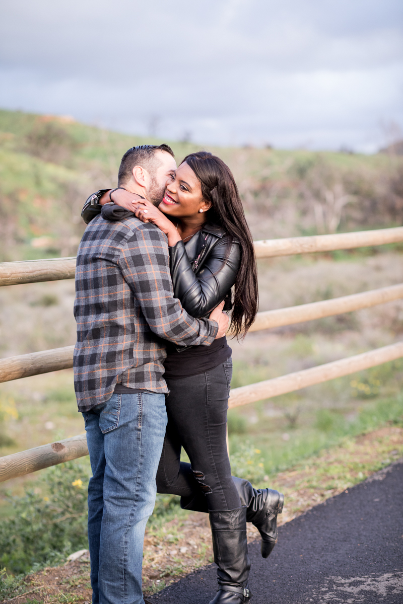 irvine regional park engagement session crystal lilly photography hug on park path
