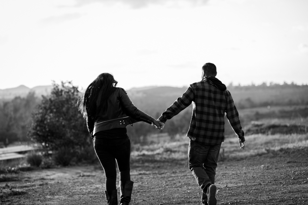 irvine regional park engagement session crystal lilly photography couple walking and holding hands, back to camera
