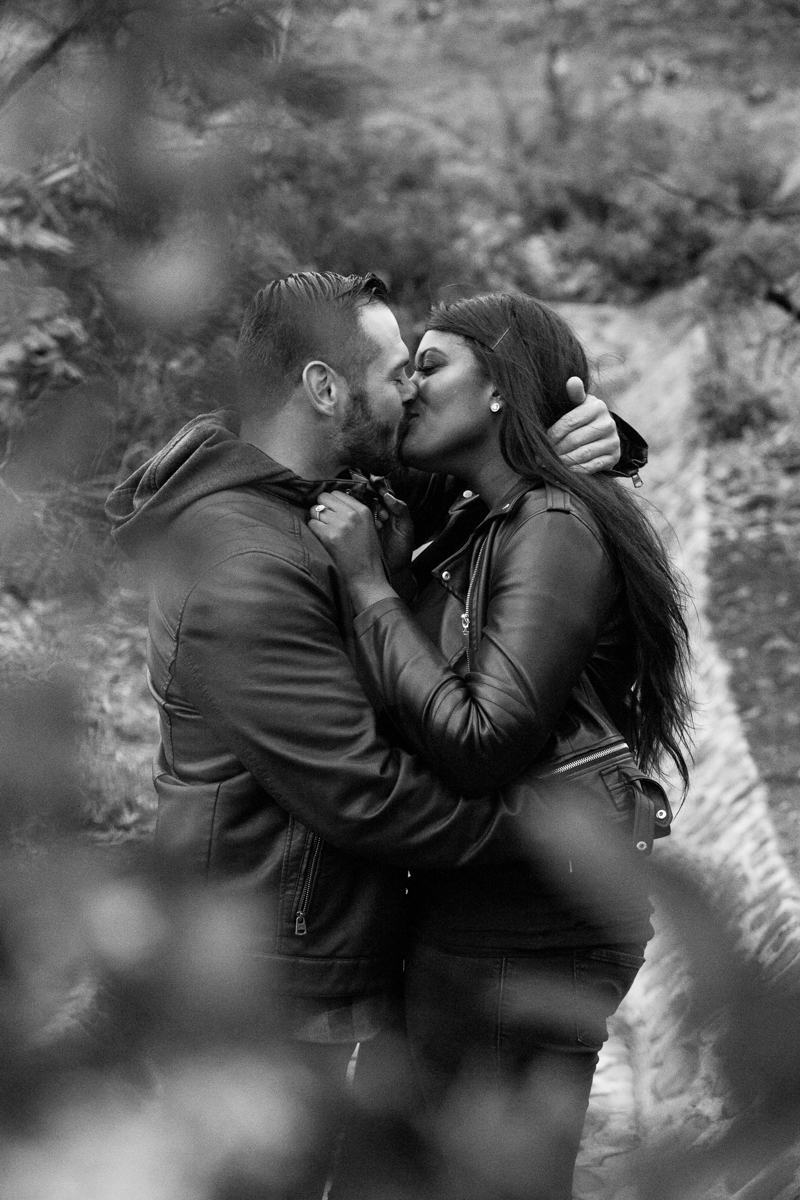 irvine regional park engagement session crystal lilly photography kiss by small waterfall