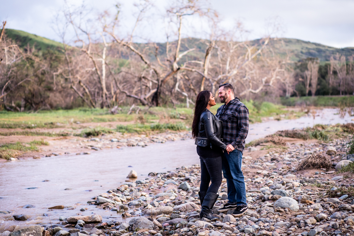 irvine regional park engagement session crystal lilly photography danielle and david by stream