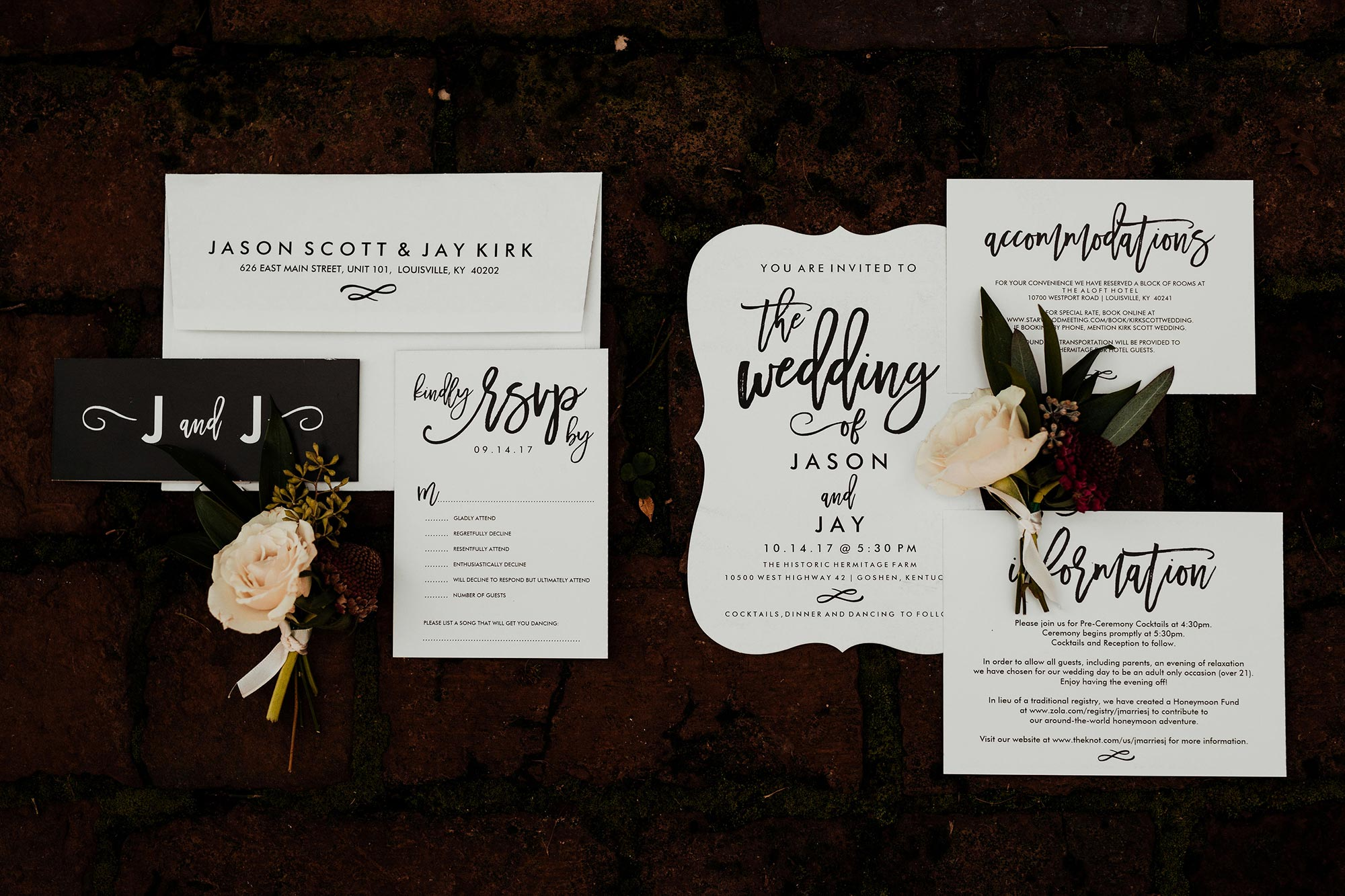 LGBTQ Louisville Kentucky Wedding at Hermitage Farm Crystal Ludwick Photo invitations and boutonnieres