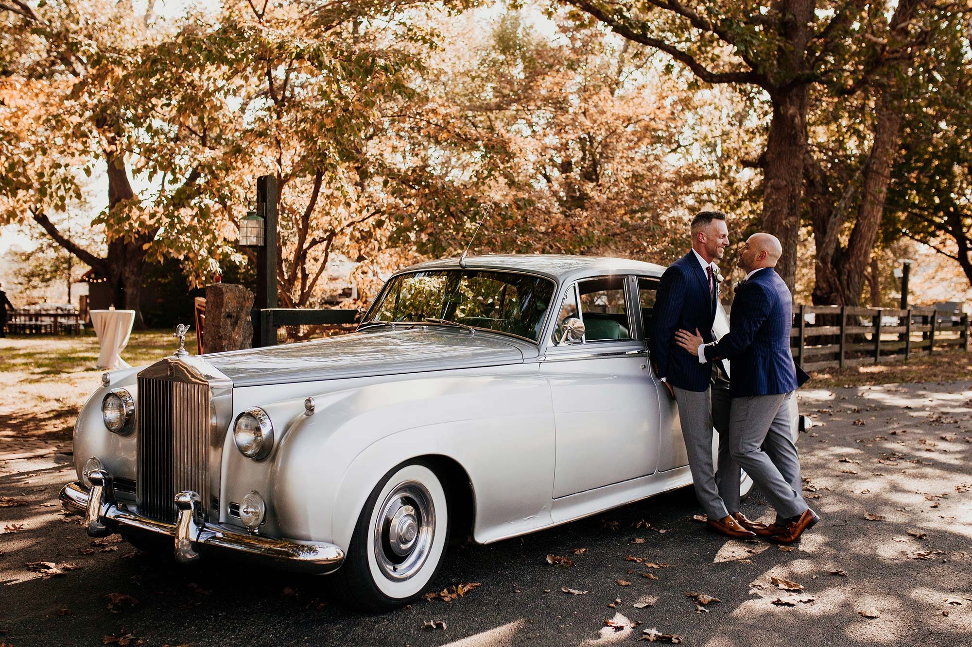 LGBTQ Louisville Kentucky Wedding at Hermitage Farm Crystal Ludwick Photo couple by vintage car