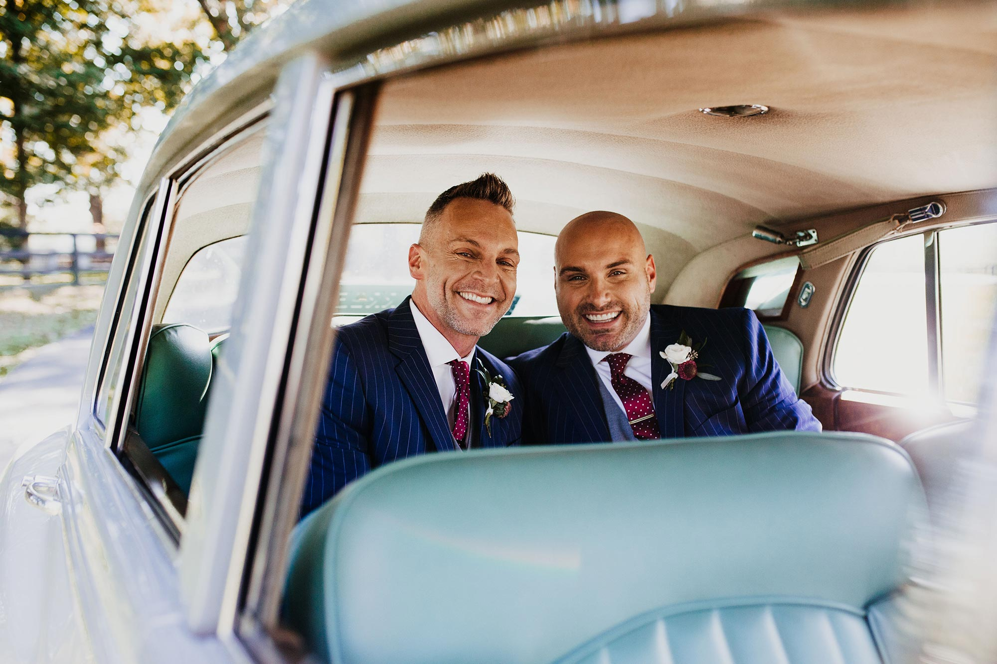 LGBTQ Louisville Kentucky Wedding at Hermitage Farm Crystal Ludwick Photo grooms in car