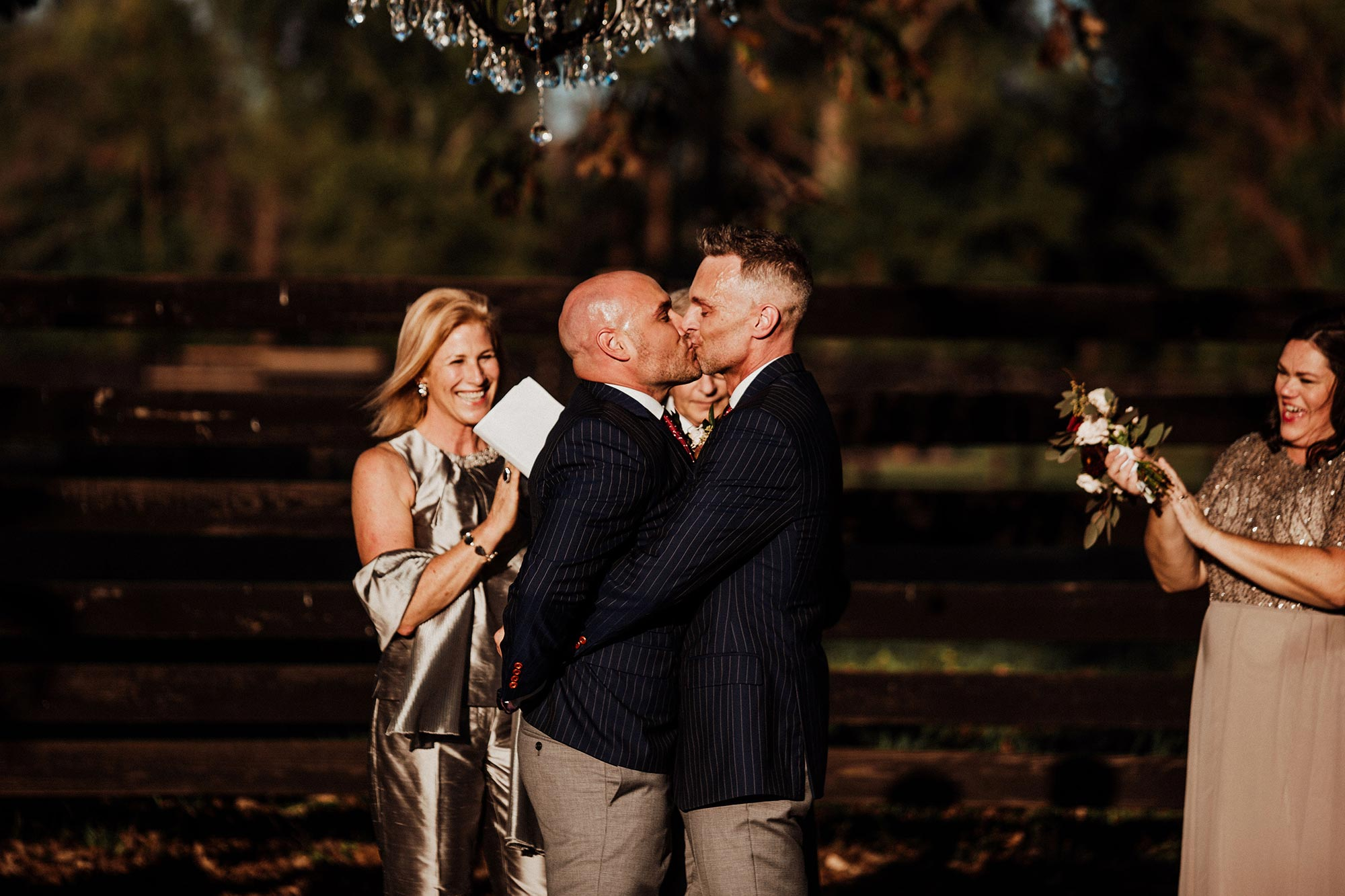 LGBTQ Louisville Kentucky Wedding at Hermitage Farm Crystal Ludwick Photo ceremony kiss