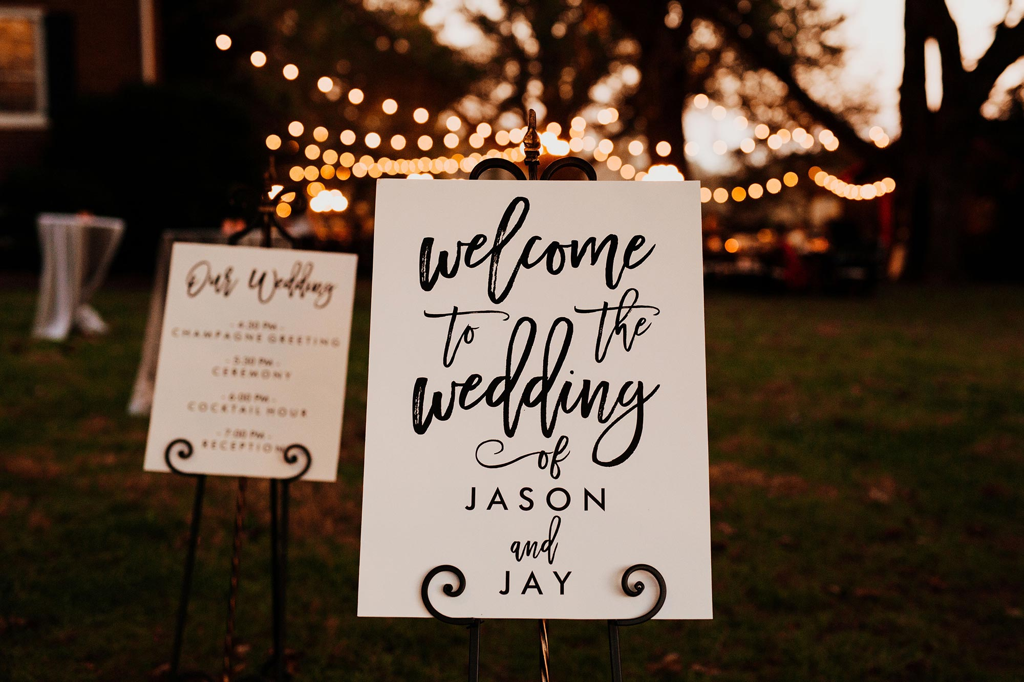 "LGBTQ Louisville Kentucky Wedding at Hermitage Farm Crystal Ludwick Photo sign reading ""welcome to the wedding of jason and jay"""