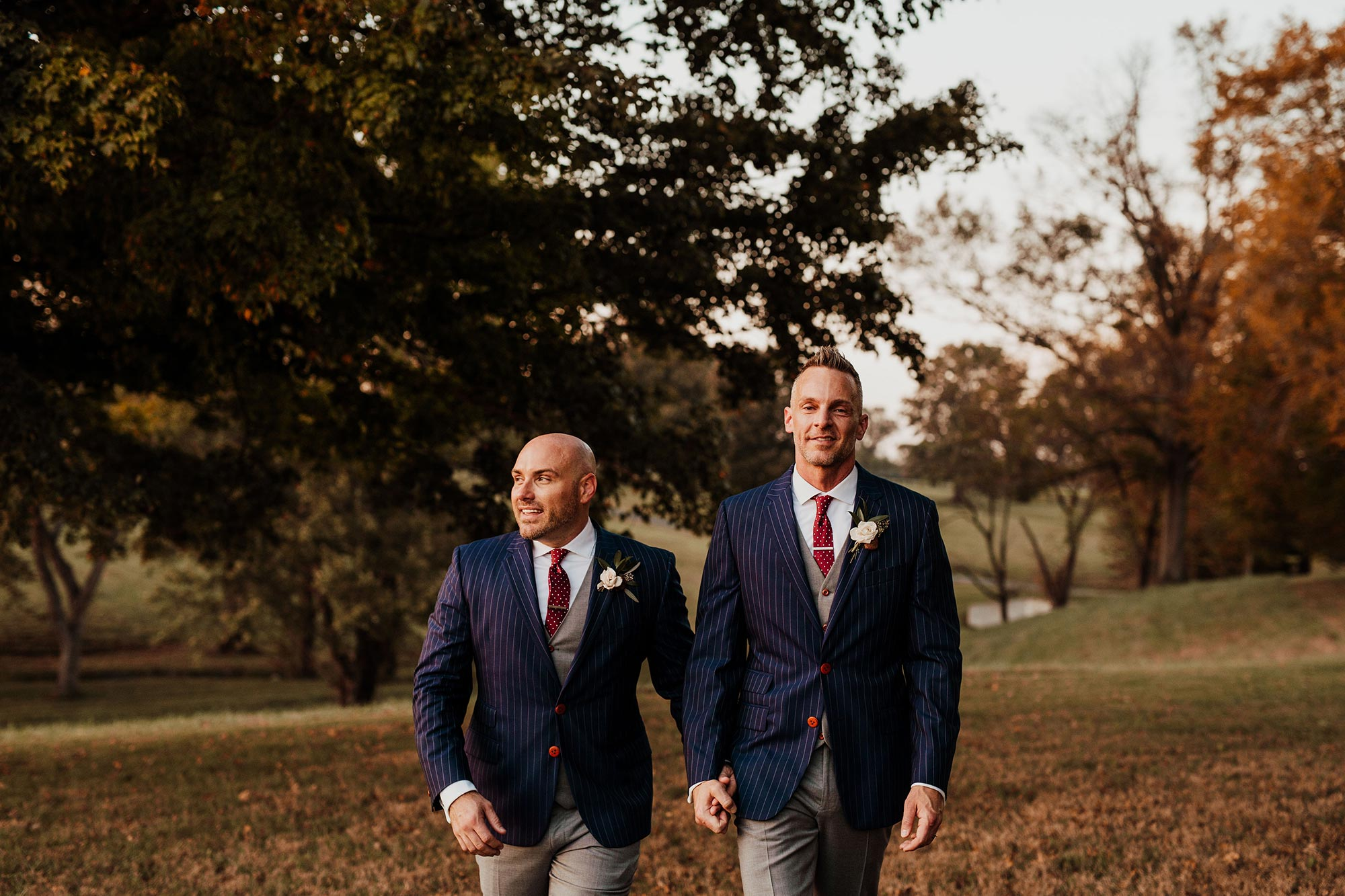 LGBTQ Louisville Kentucky Wedding at Hermitage Farm Crystal Ludwick Photo grooms walking holding hands