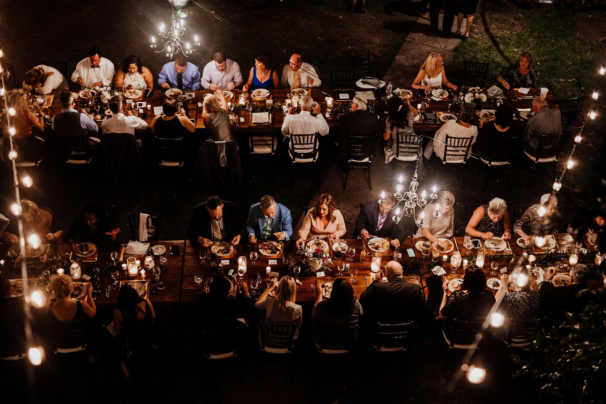 LGBTQ Louisville Kentucky Wedding at Hermitage Farm Crystal Ludwick Photo guests at tables from above