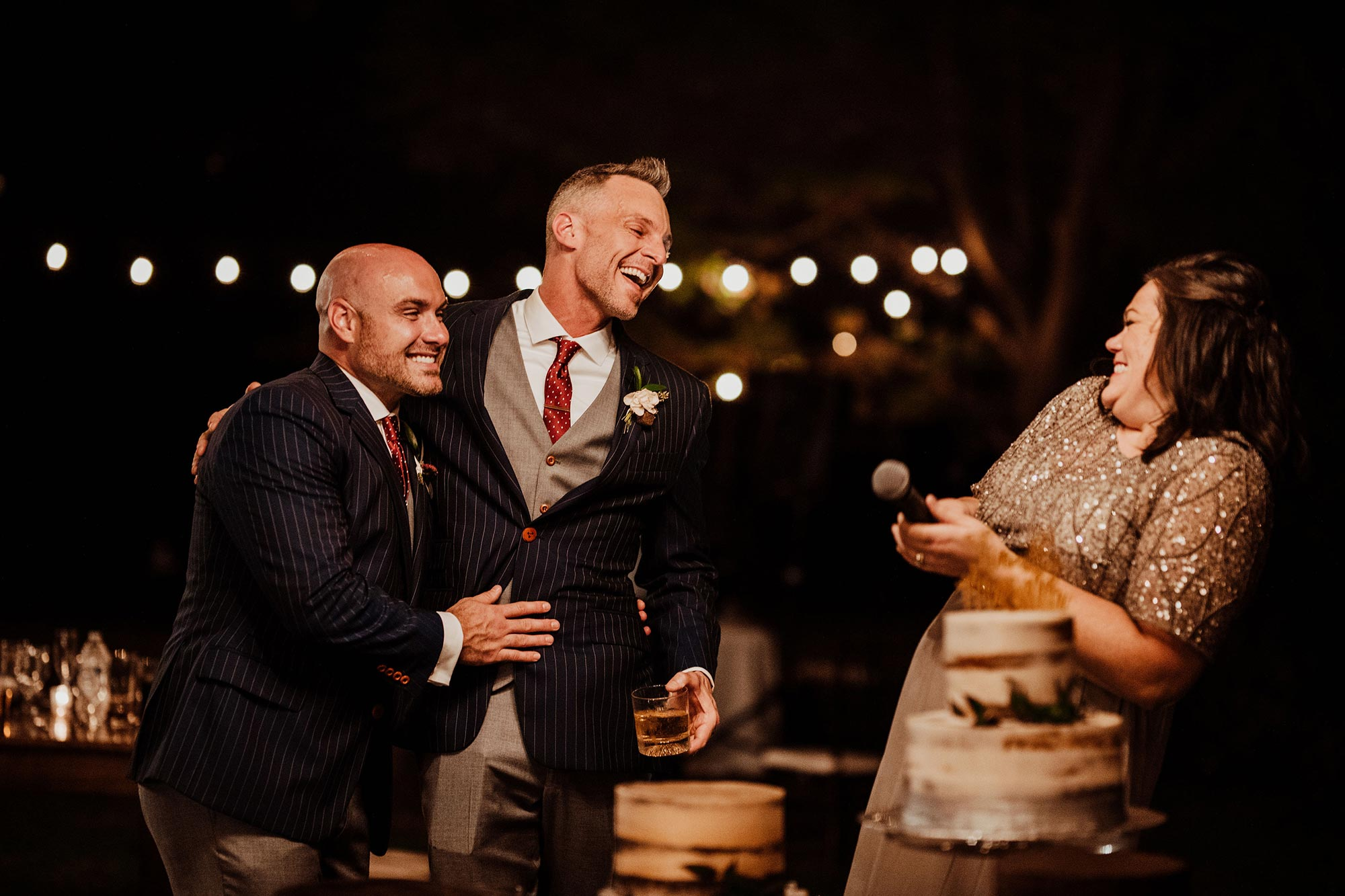 LGBTQ Louisville Kentucky Wedding at Hermitage Farm Crystal Ludwick Photo laughing during speech