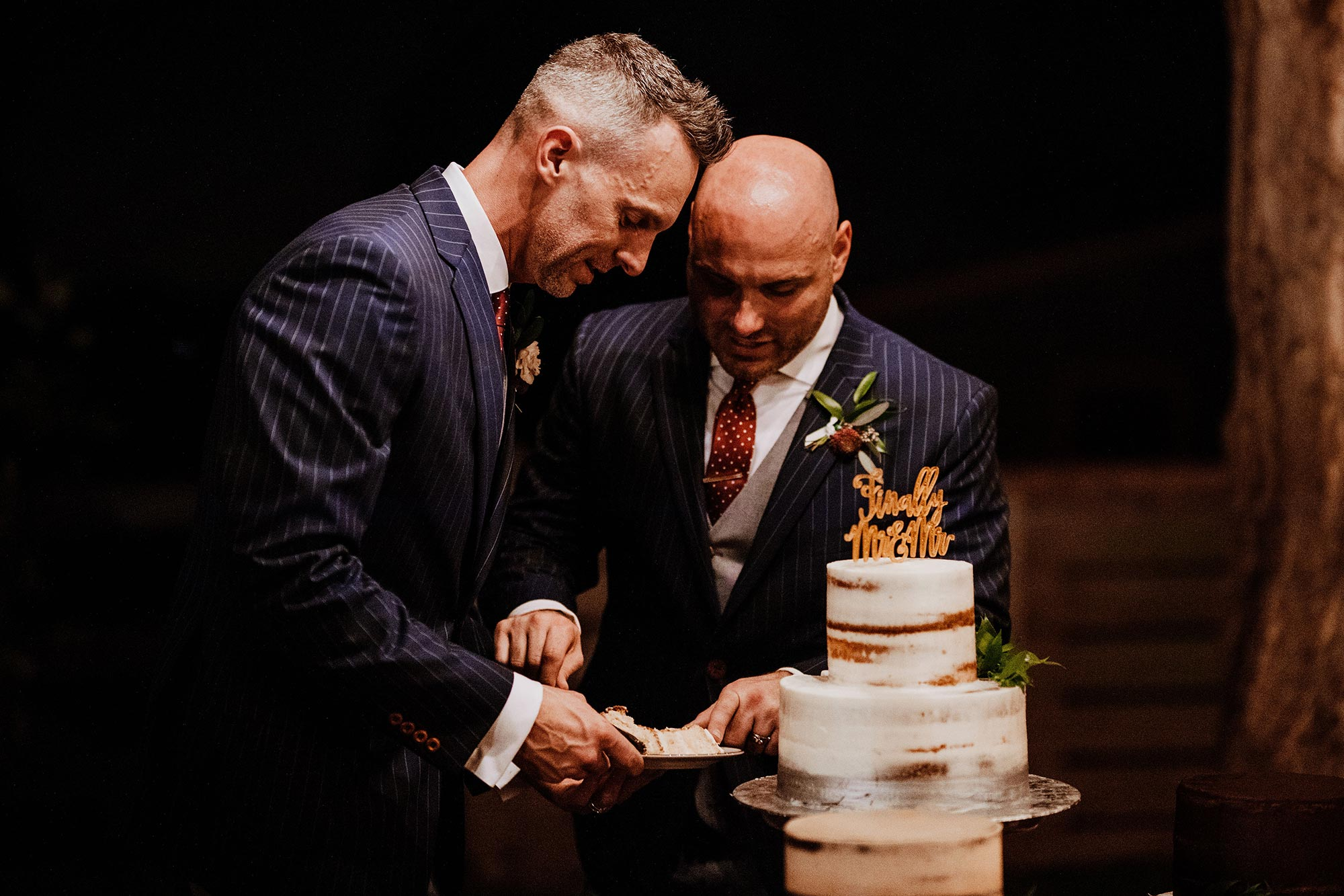 LGBTQ Louisville Kentucky Wedding at Hermitage Farm Crystal Ludwick Photo grooms cut cake