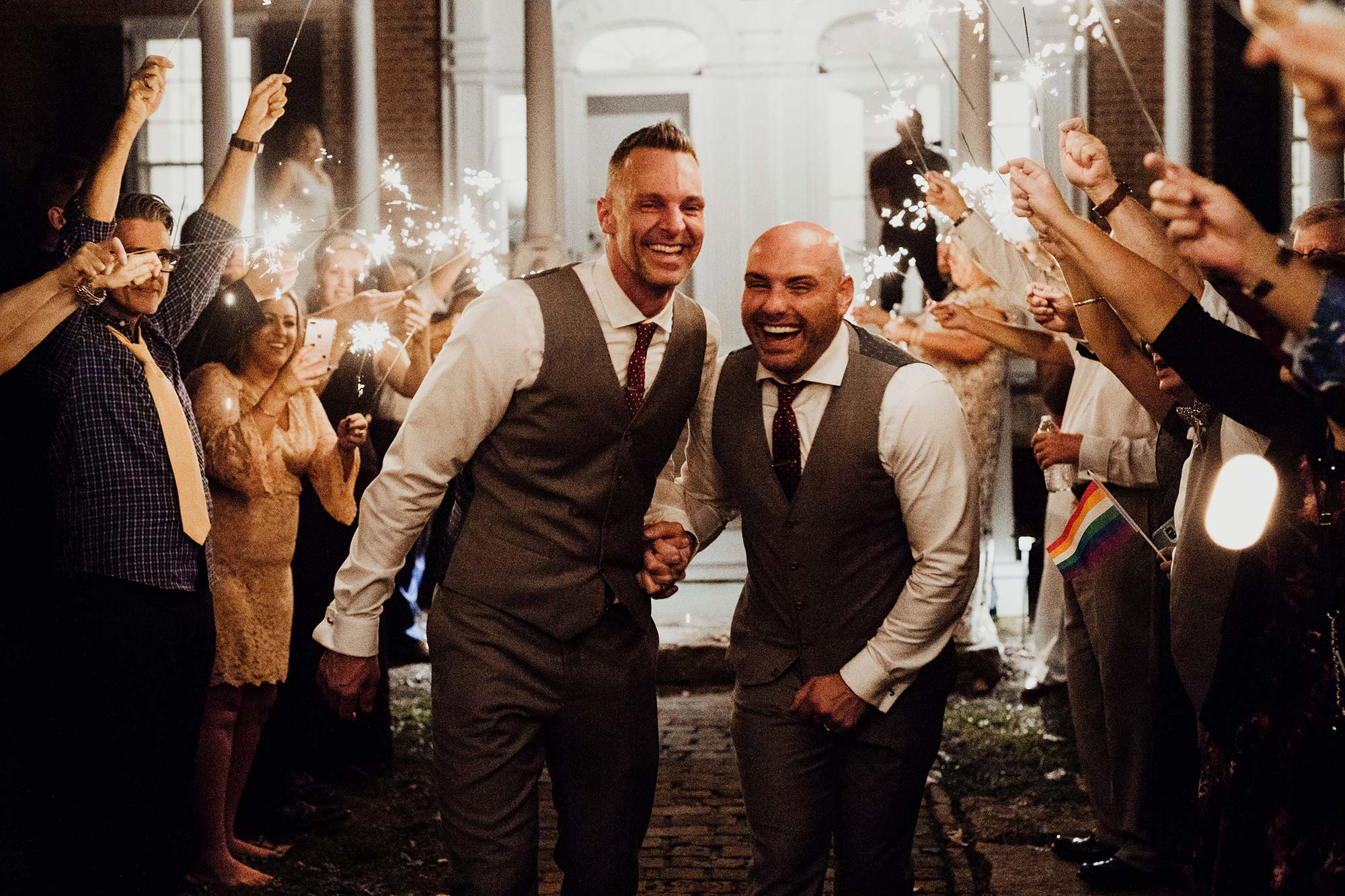 LGBTQ Louisville Kentucky Wedding at Hermitage Farm Crystal Ludwick Photo sparkler send-off