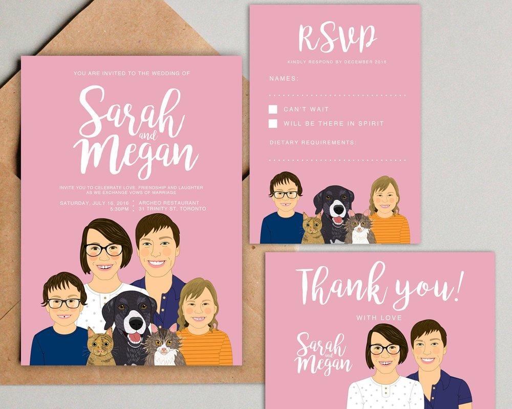 Custom Illustrated Family Portrait Wedding Invitations by Lili Di Prima