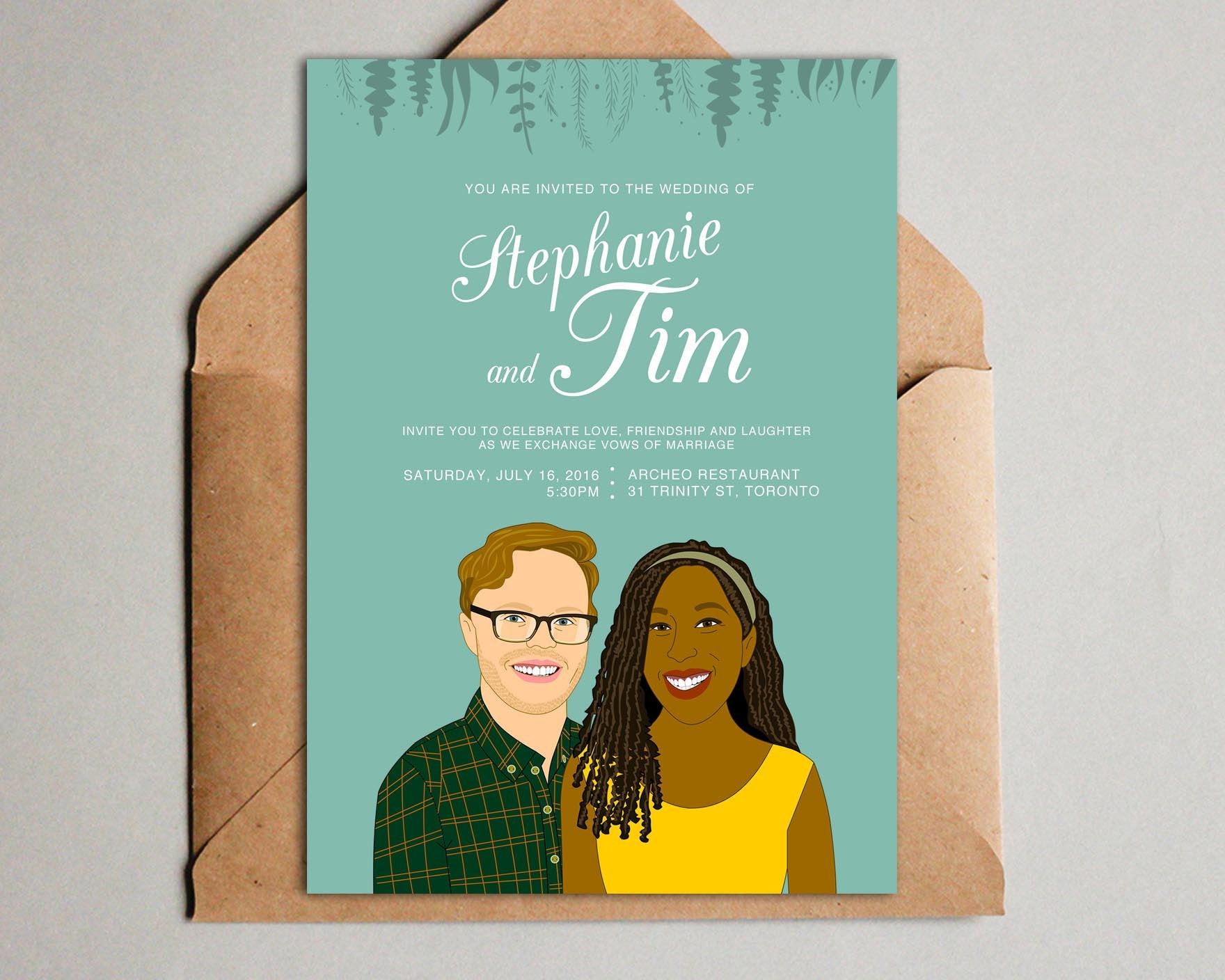 Custom Illustration Couple Portrait Wedding Invitation by Lili Di Prima