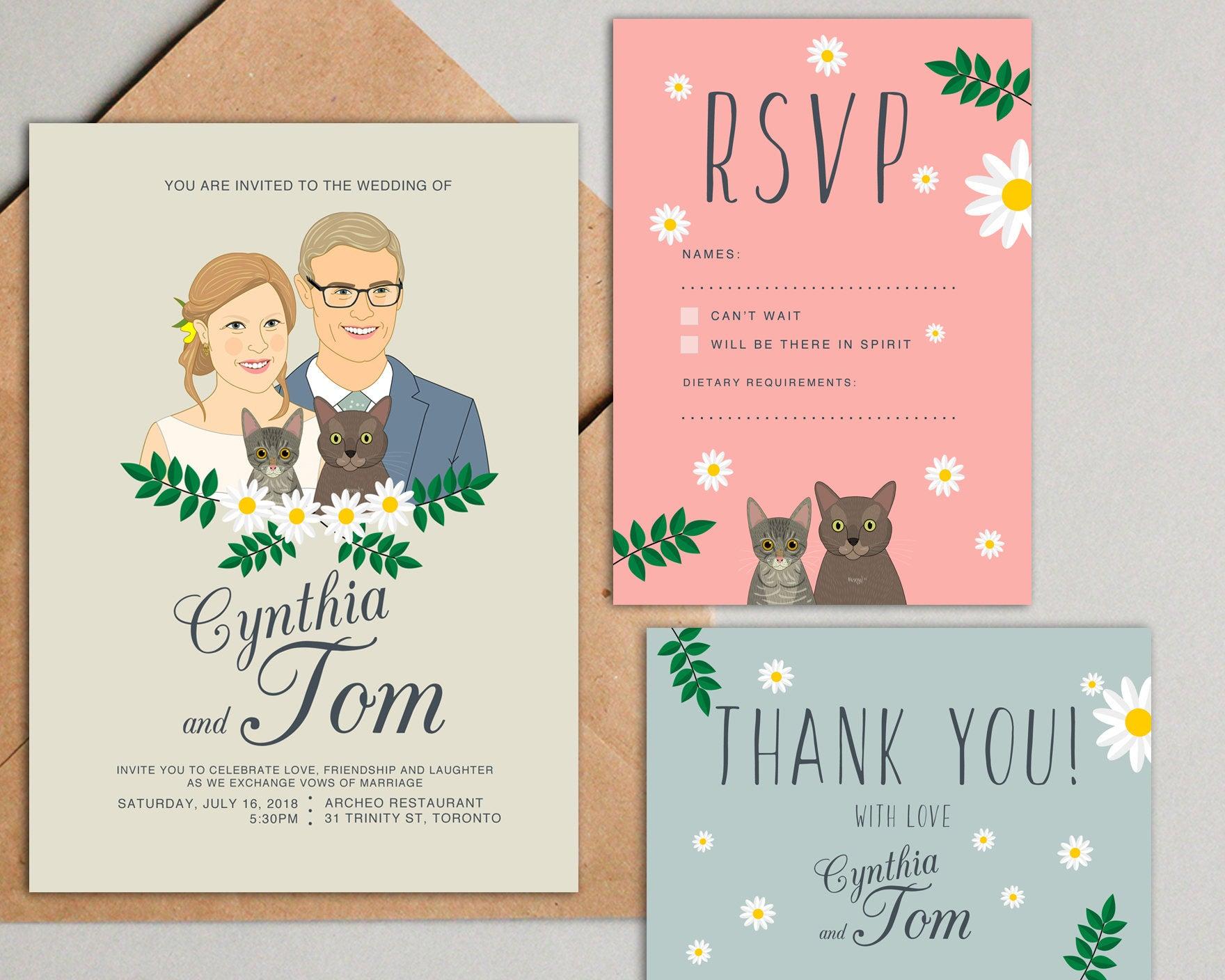 Custom Illustration Couple Portrait Wedding Invitation Suite by Lili Di Prima