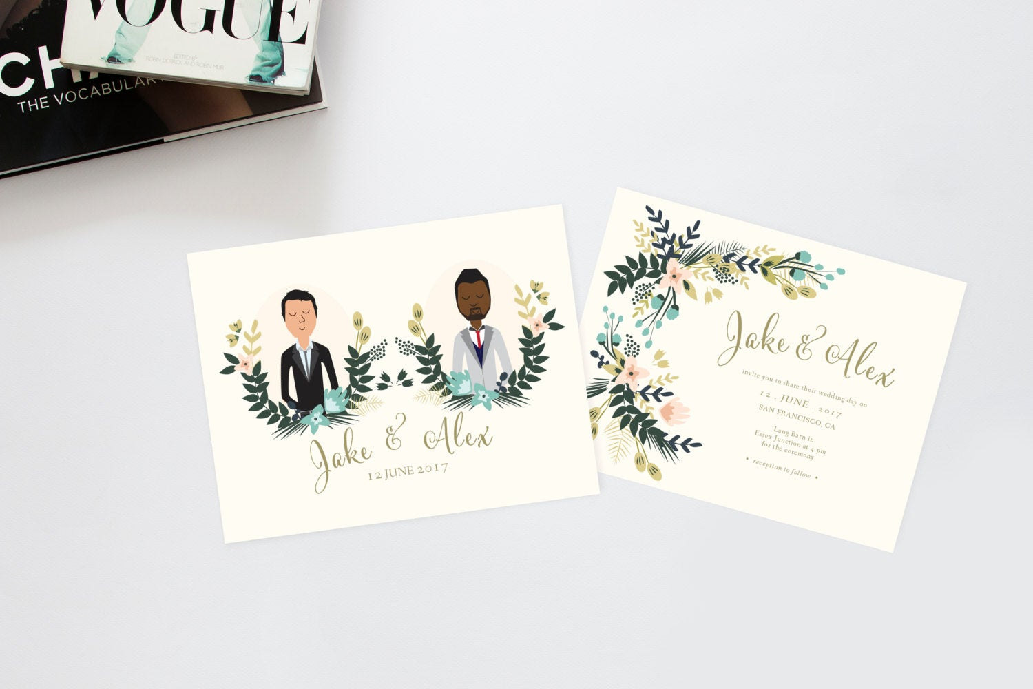 Floral Custom Illustration Couples Portrait Wedding Invitation by Heart and Fox