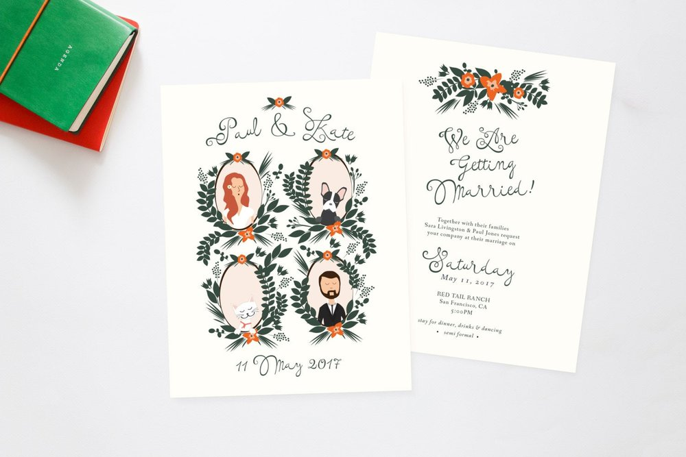 Floral Custom Illustration Family Portrait with Pets Wedding Invitations by Heart and Fox