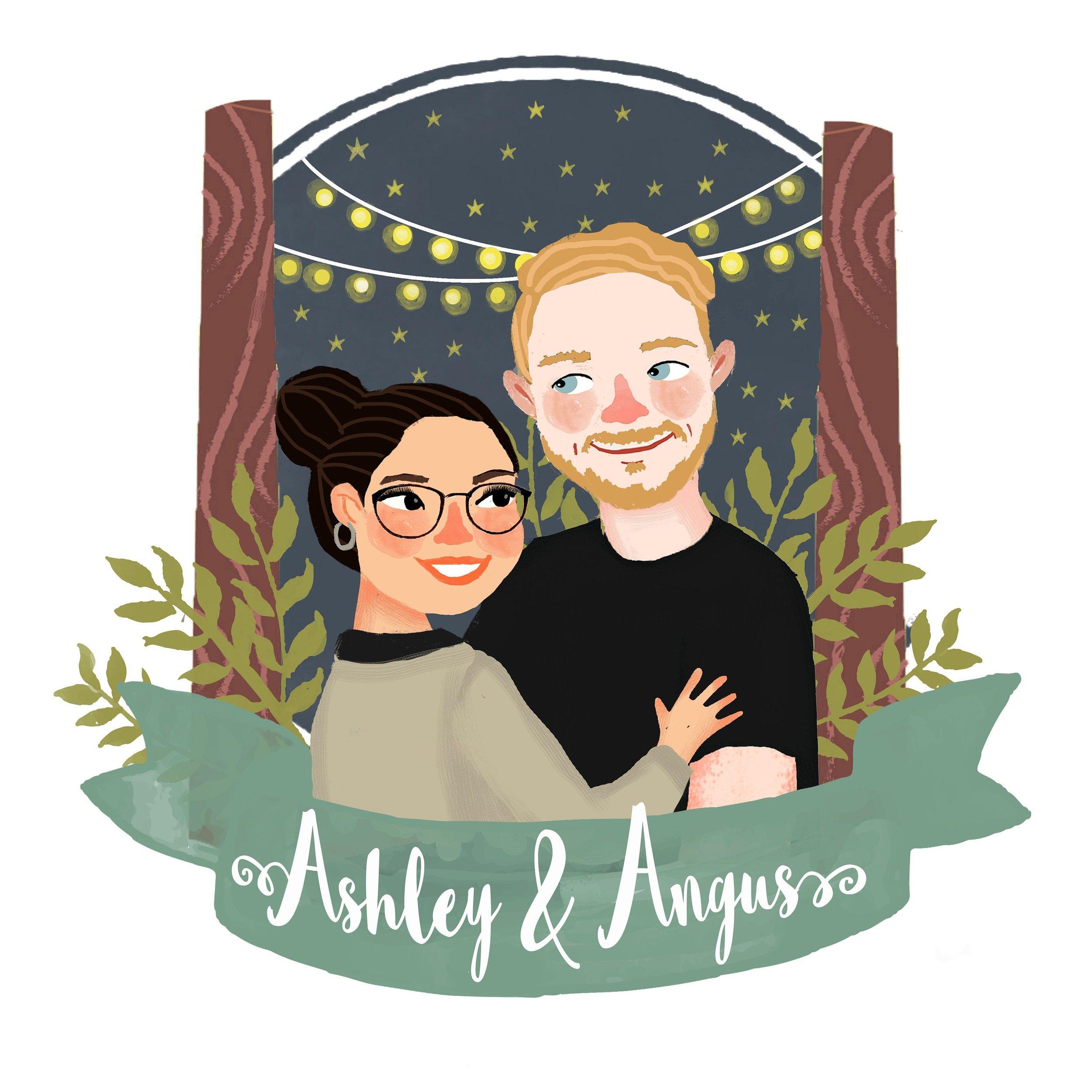 Custom Illustration Couples Portrait by Ria Design Store