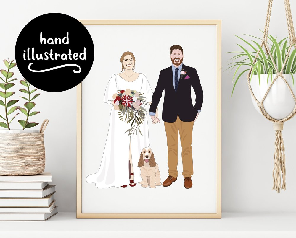 Custom Illustration One Year Wedding Anniversary Couples Portrait Print by Little Ginger Designs