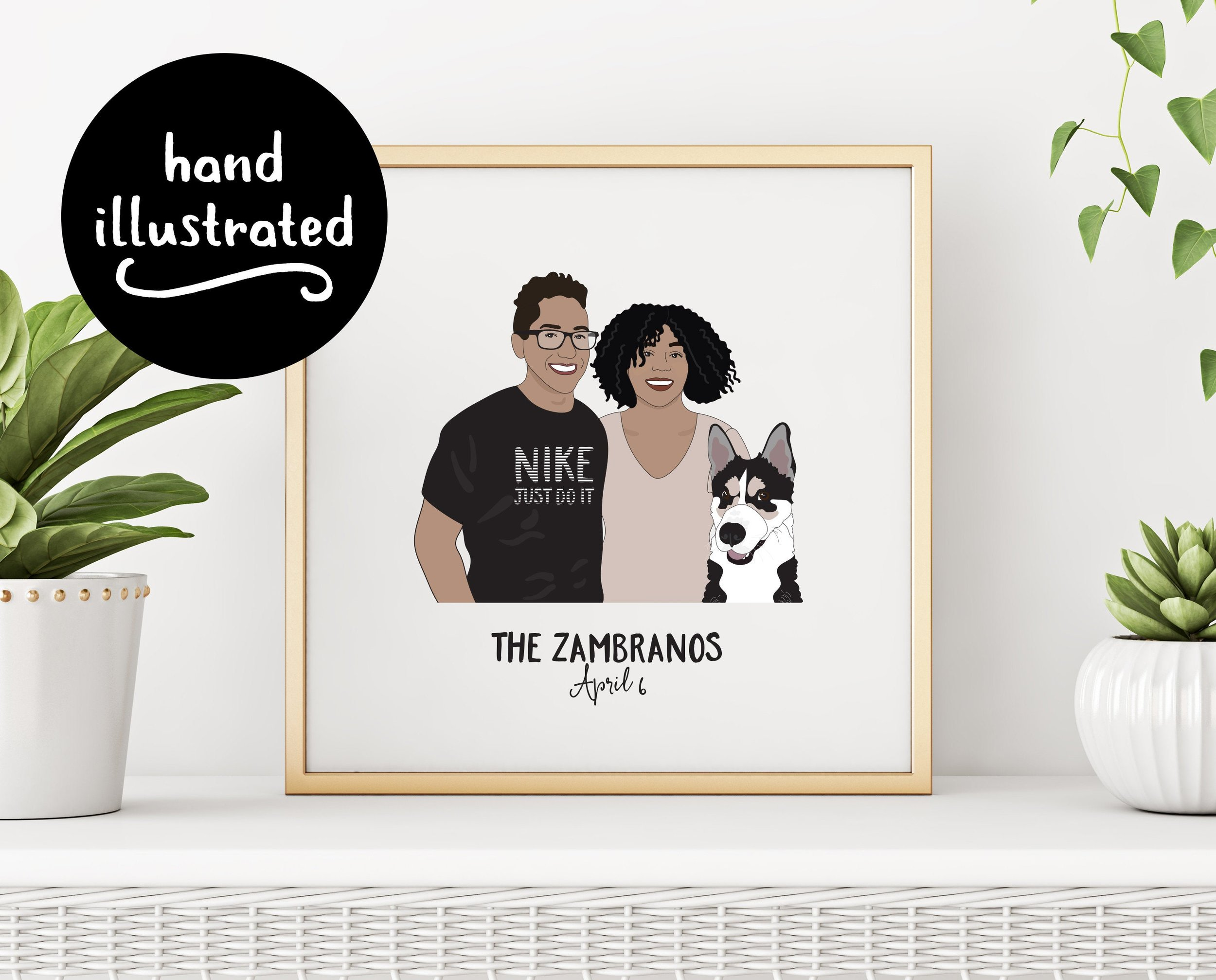 Custom Illustration Couple and Pet Family Portrait Print by Little Ginger Designs