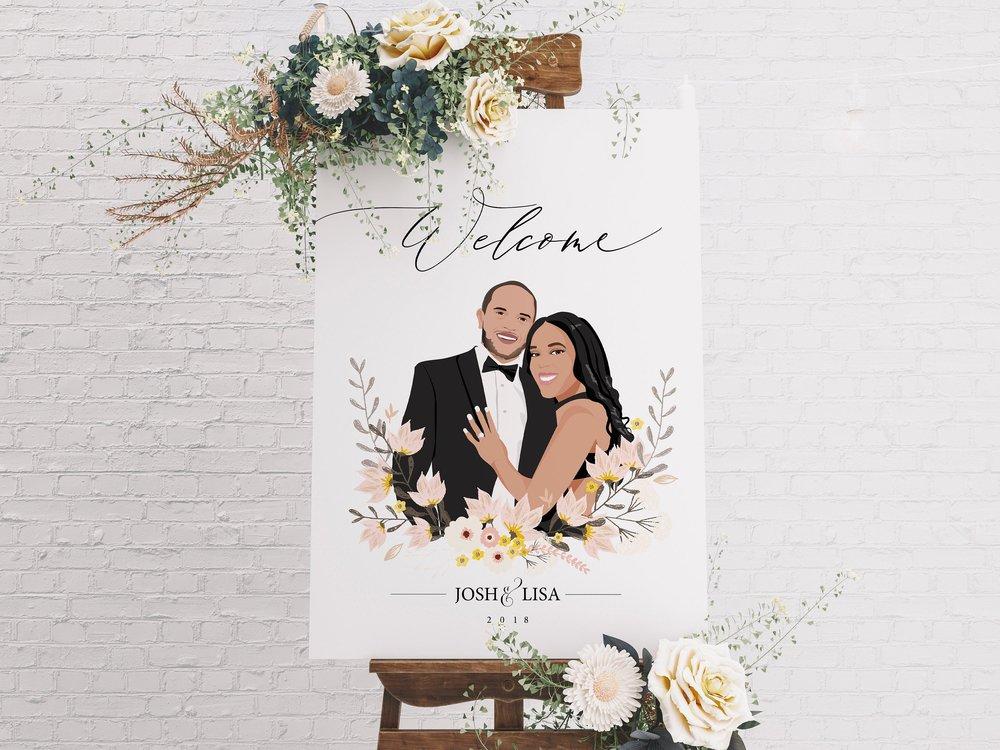 Custom Illustration Couples Portrait Wedding Welcome Sign by xoBSpoke