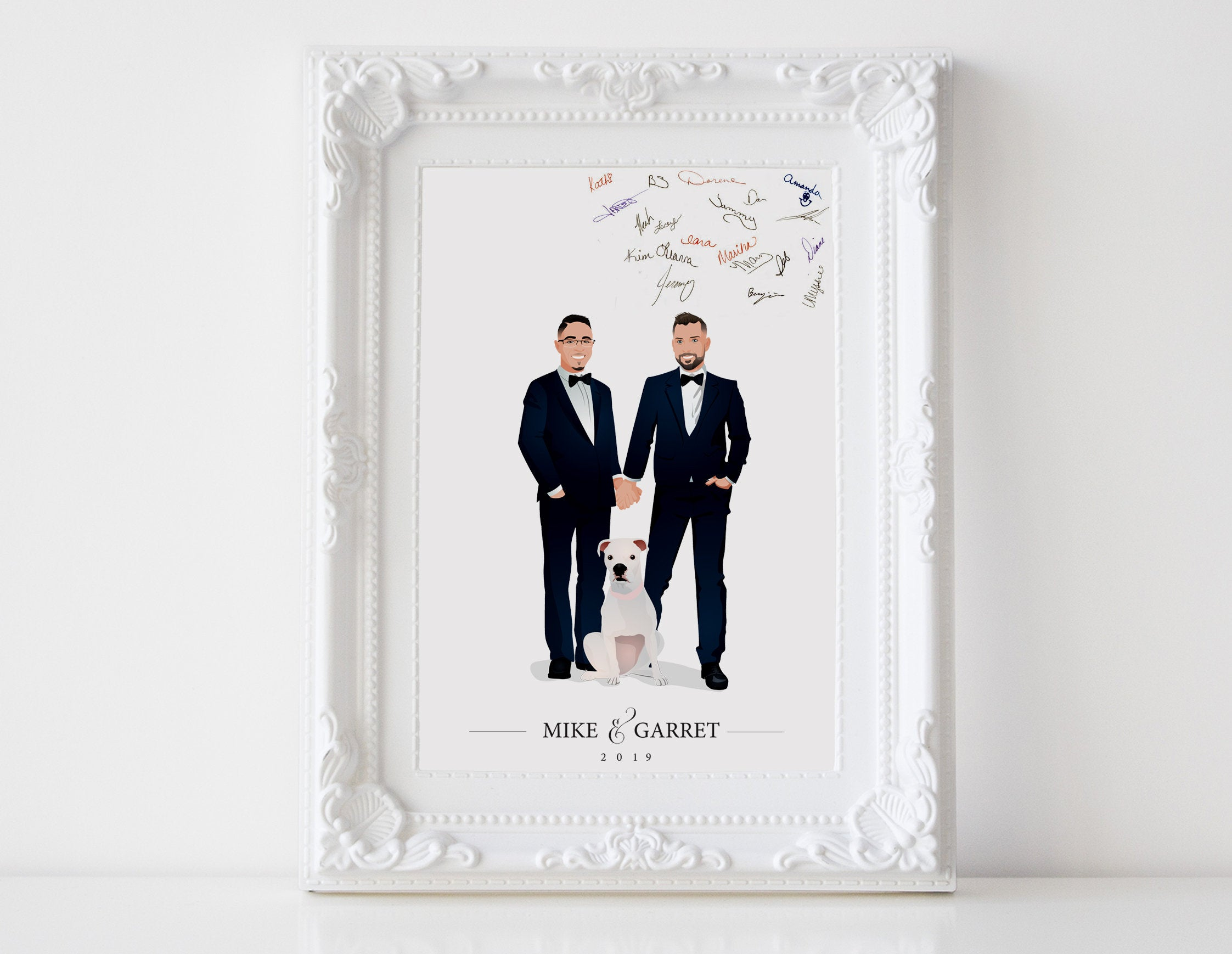 Custom Illustration Wedding Couple Family Portrait Guestbook Poster by xoBSpoke