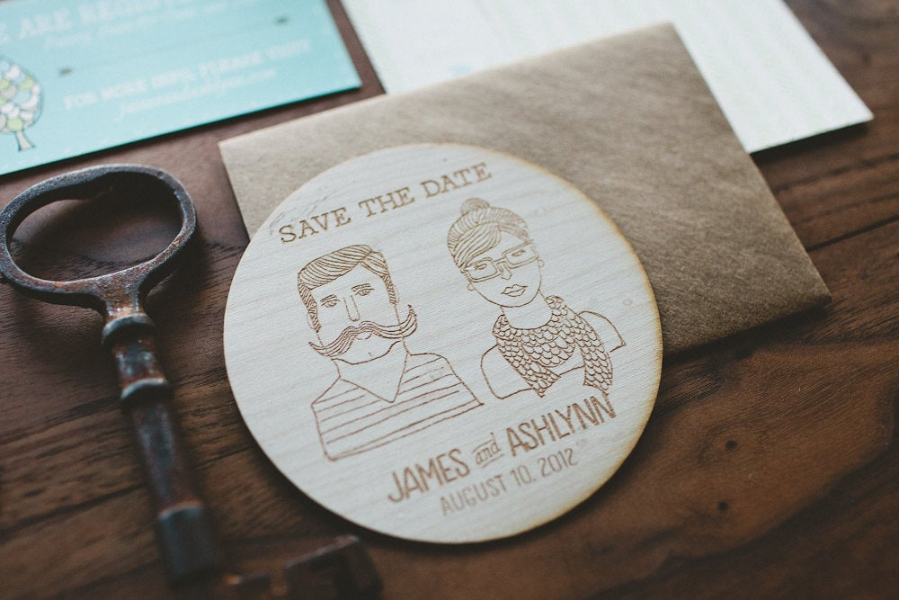 Laser Cut Wooden Coaster with Custom Couple Illustration and Wedding Date by Wide Eyes Paper Co.