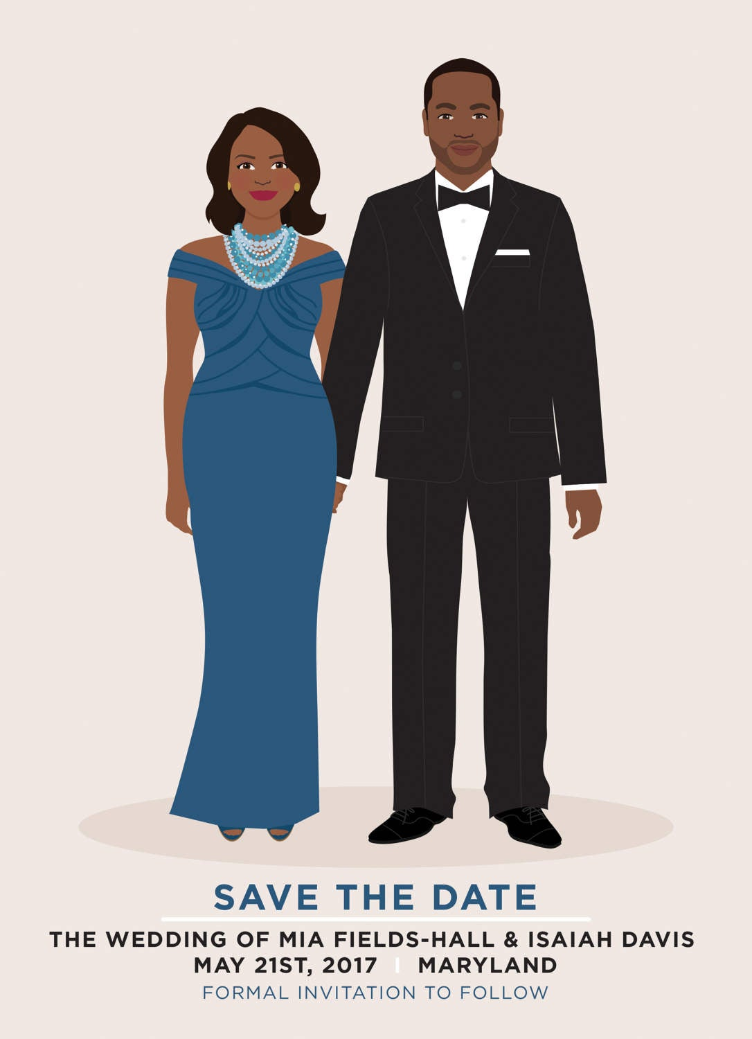 Custom Illustration Couple Portrait Wedding Save the Date by Henry James Paper Goods